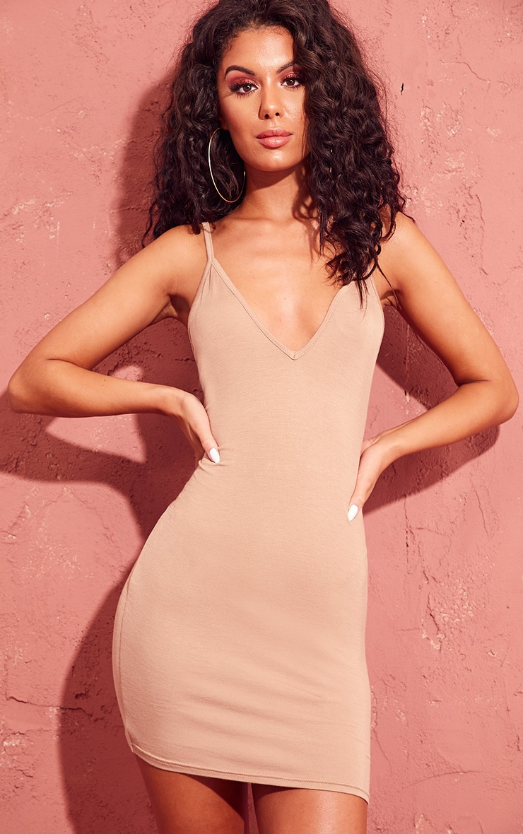 Basic Camel Extreme Plunge Strappy Bodycon Dress 1