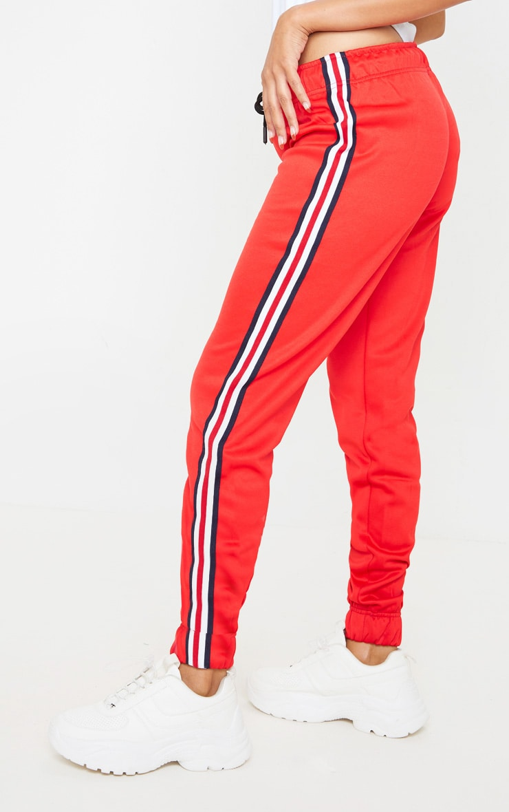 Red Tapered Side Stripe Jogger 4