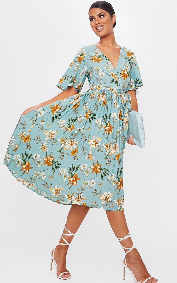فستان ميدي أخضر مائل للرمادي بنقشة زهور بكسرات 3
