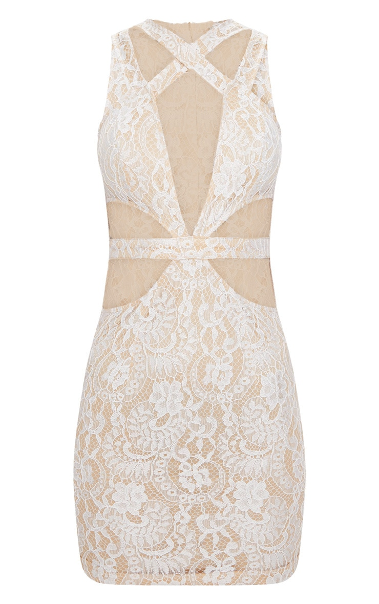 White Lace Cut Out Bodycon Dress 3