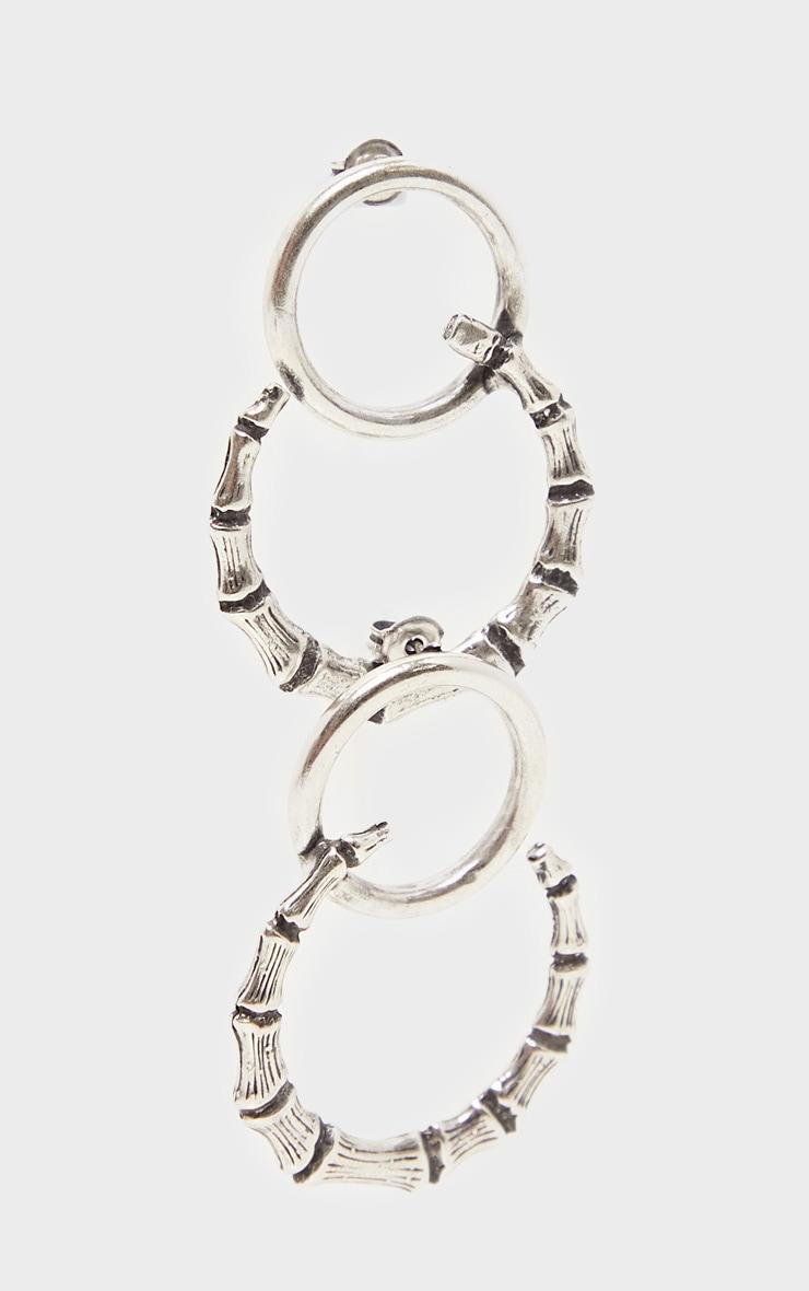 Silver Bamboo Horn Earrings 2