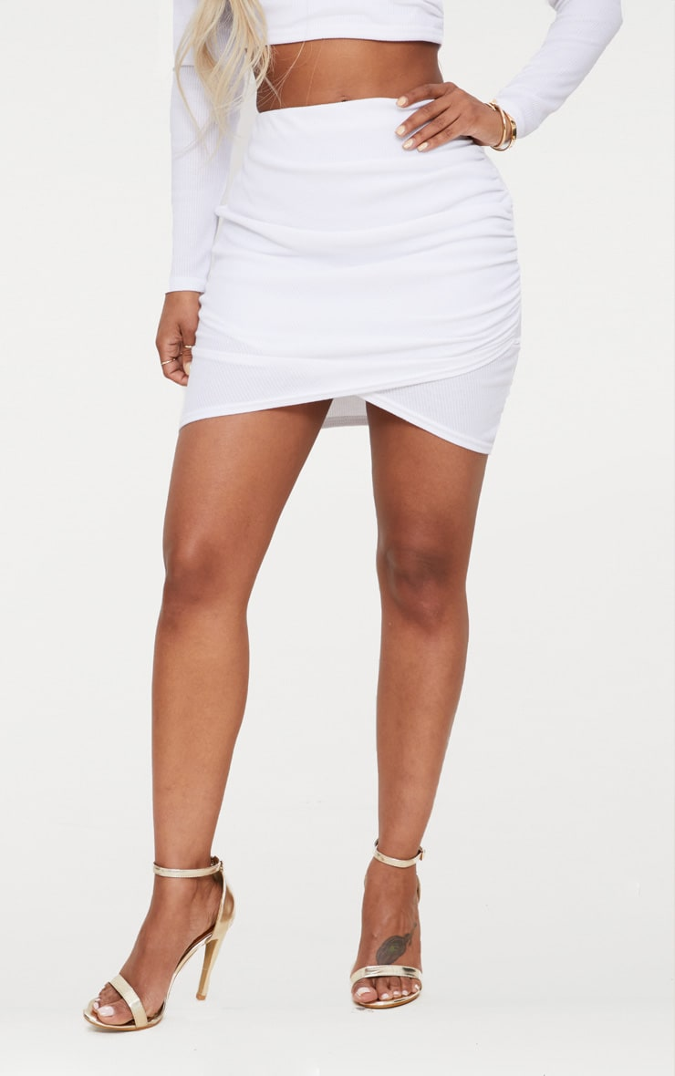 Shape White Ribbed Bodycon Skirt 2