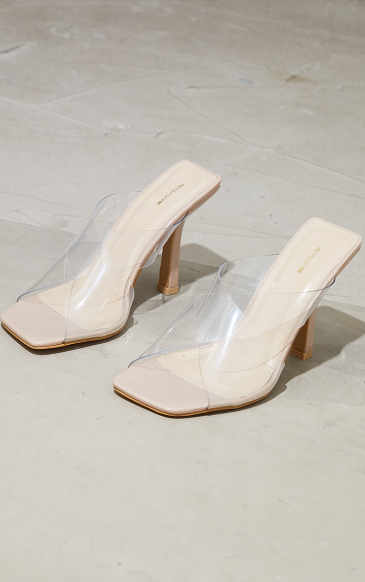 Nude Clear Cross Over Twin Strap Square Toe Mule Heels 4