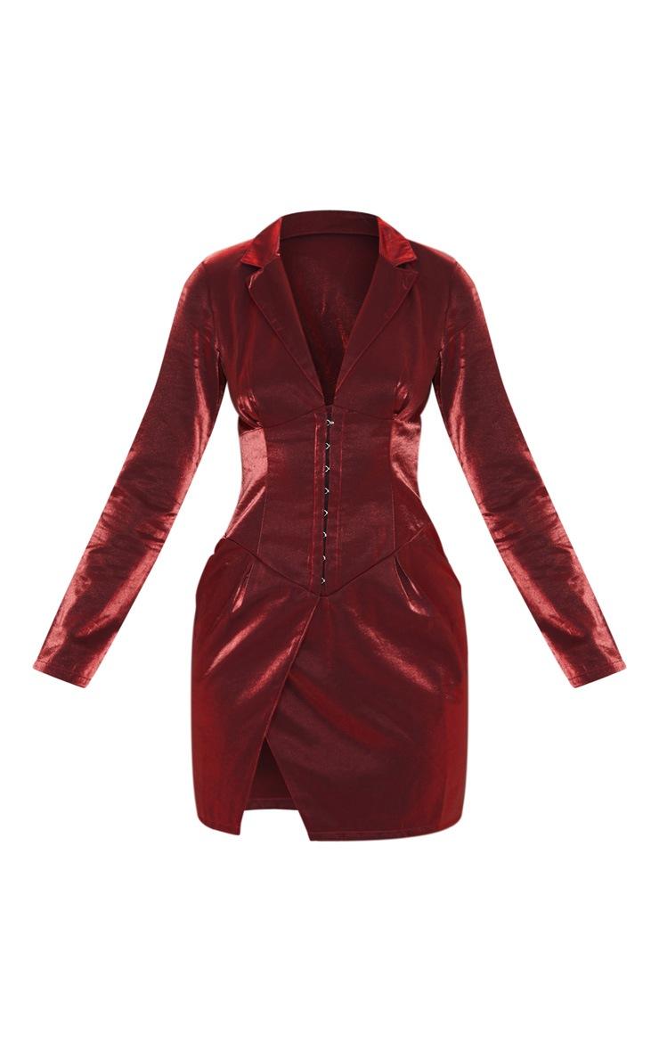 Red Metallic Long Sleeve Corset Pannel Blazer Dress 3