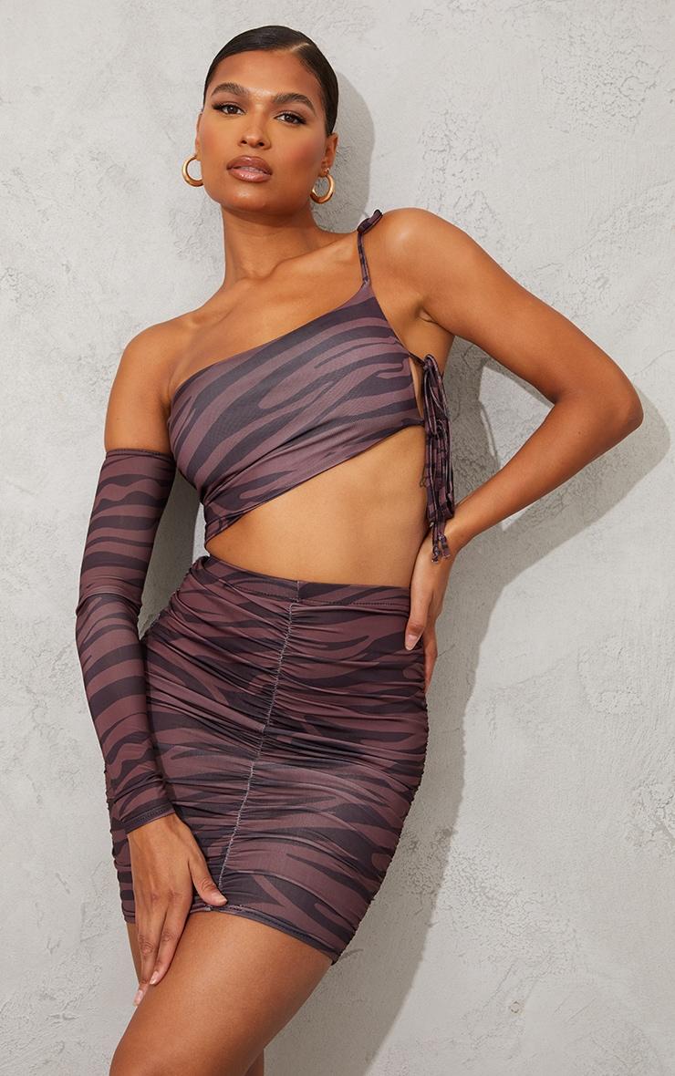 Brown Zebra Print Slinky Bardot Ruched Side Long Sleeve Asymmetric Crop Top 1