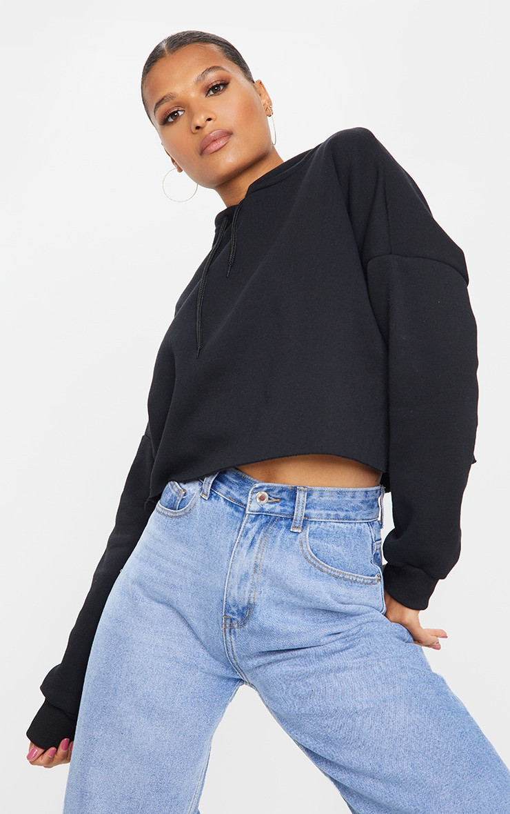 Black Ultimate Oversized Crop Hoodie 1