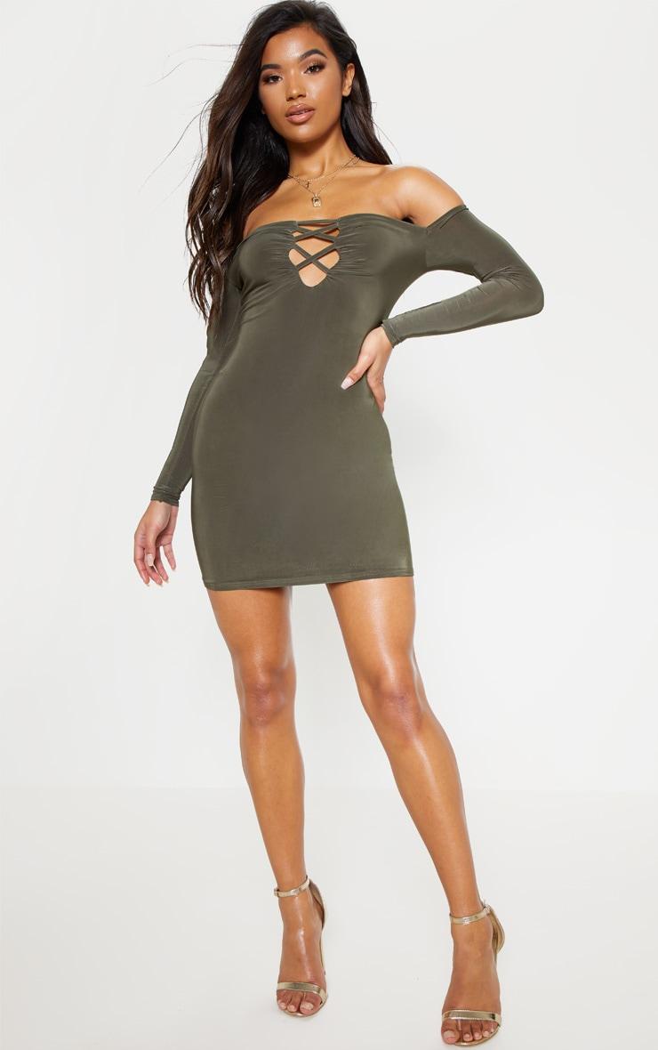 Khaki Slinky Lattice Detail Bodycon Dress 4