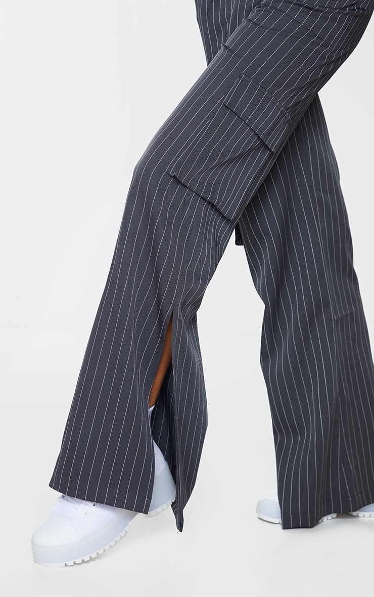 Charcoal Pinstripe Wide Leg Pocket Detail Trousers 4
