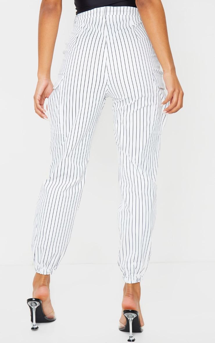 White Pinstripe Pocket Detail Cargo Pants 3