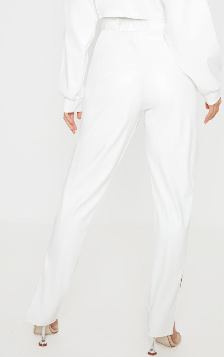 Petite White Split Hem Flared PU Pants 4
