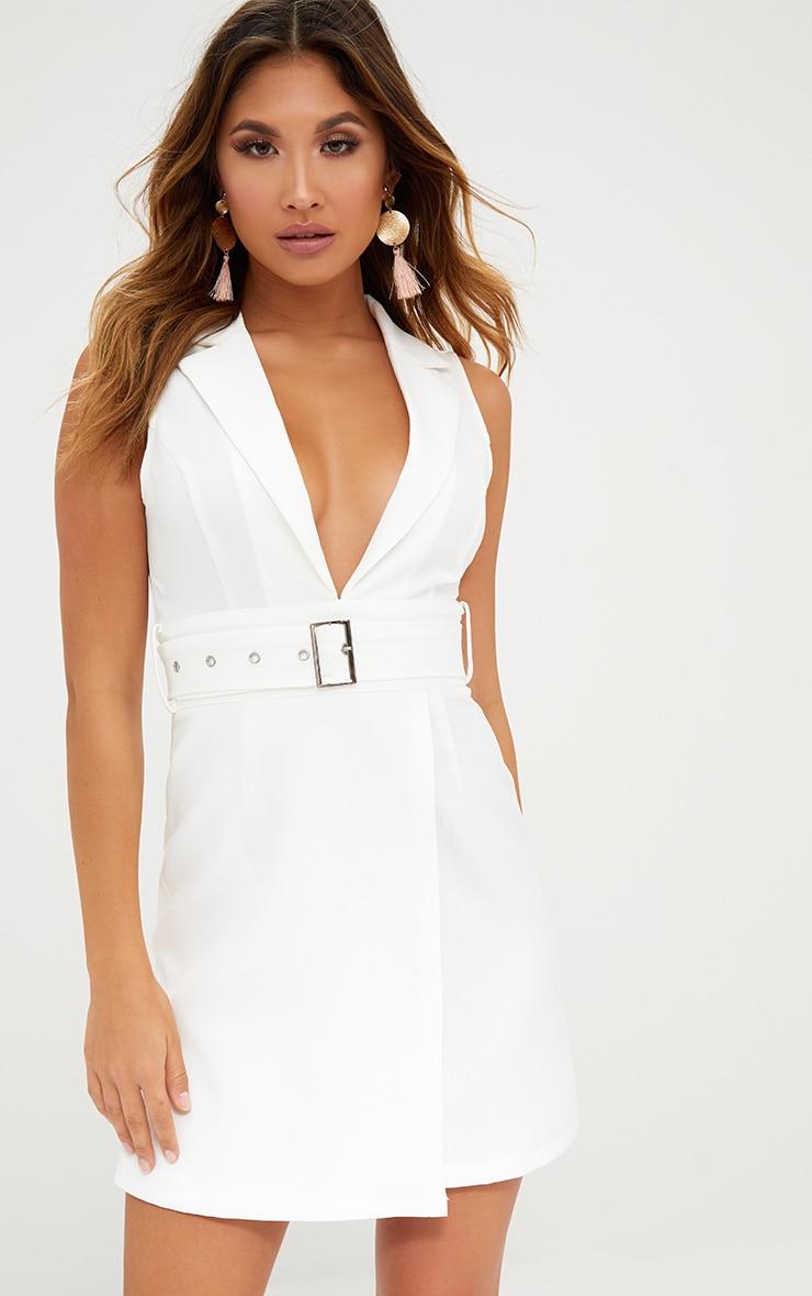 White Sleeveless Tie Waist Blazer Dress 1