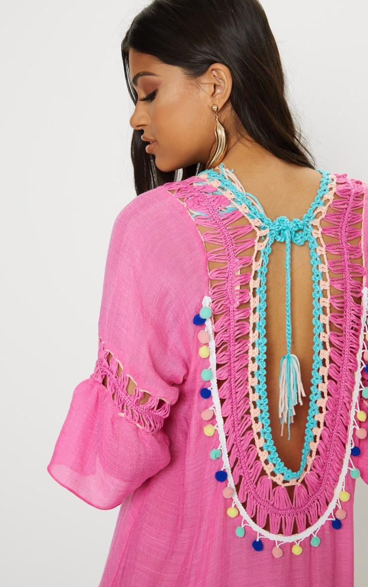 Hot Pink Pom Pom Crochet Back Frill Hem Sheer Shift Dress 5