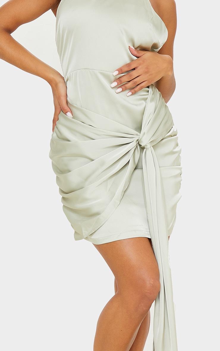 Sage Green Satin Halterneck Ruched Drape Detail Bodycon Dress 4