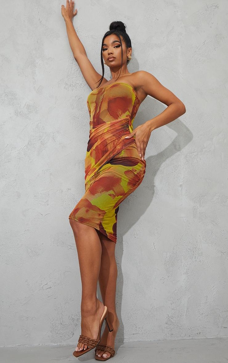Orange Abstract Print Mesh Bandeau Drape Midi Dress 3