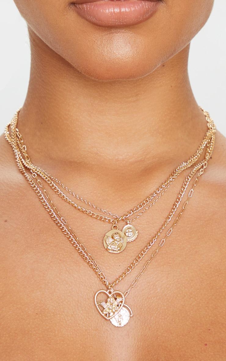 Gold Cherub Charm Multi Layering Necklace 2