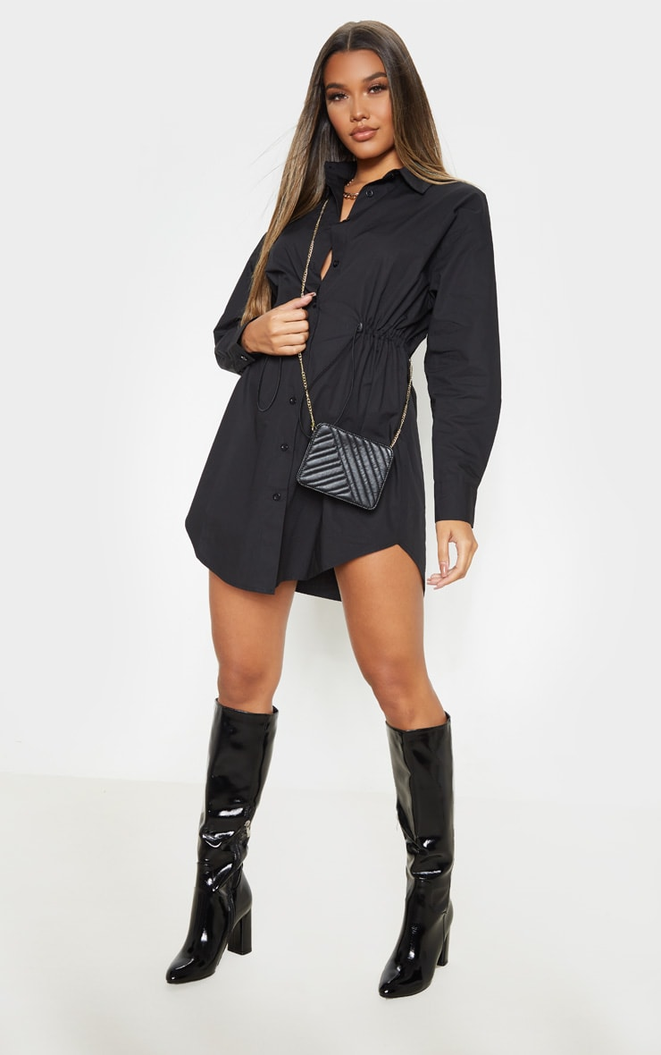 Black Toggle Drawstring Shirt Dress 1
