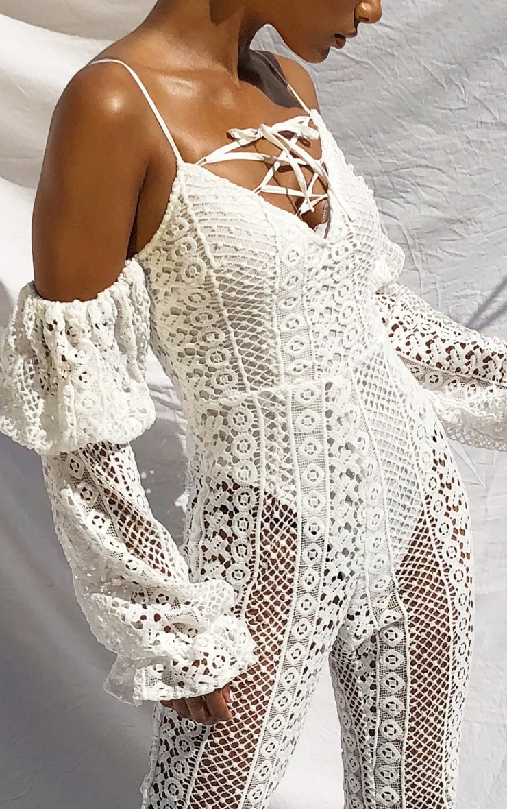 White Crochet Lace Strappy Jumpsuit 4