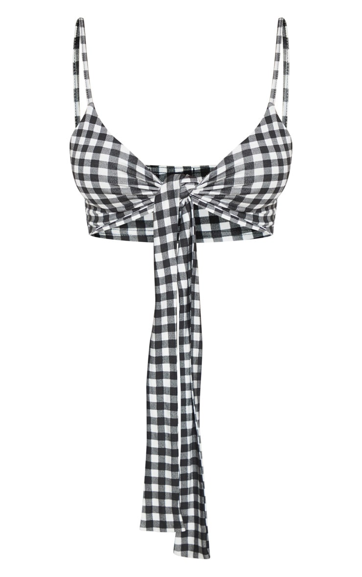 Mono Gingham Printed Tie Front Jersey Bralet 3