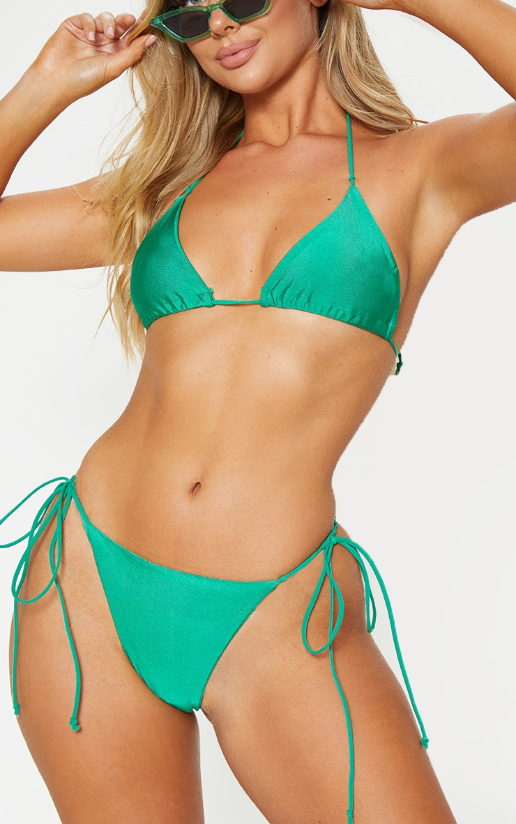 Green Skinny Strap Mini Knot Bikini Bottom 1