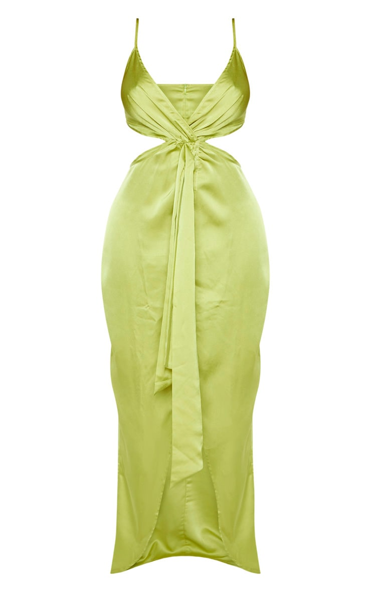 Shape Chartreuse Cut Out Drape Front Maxi Dress 3