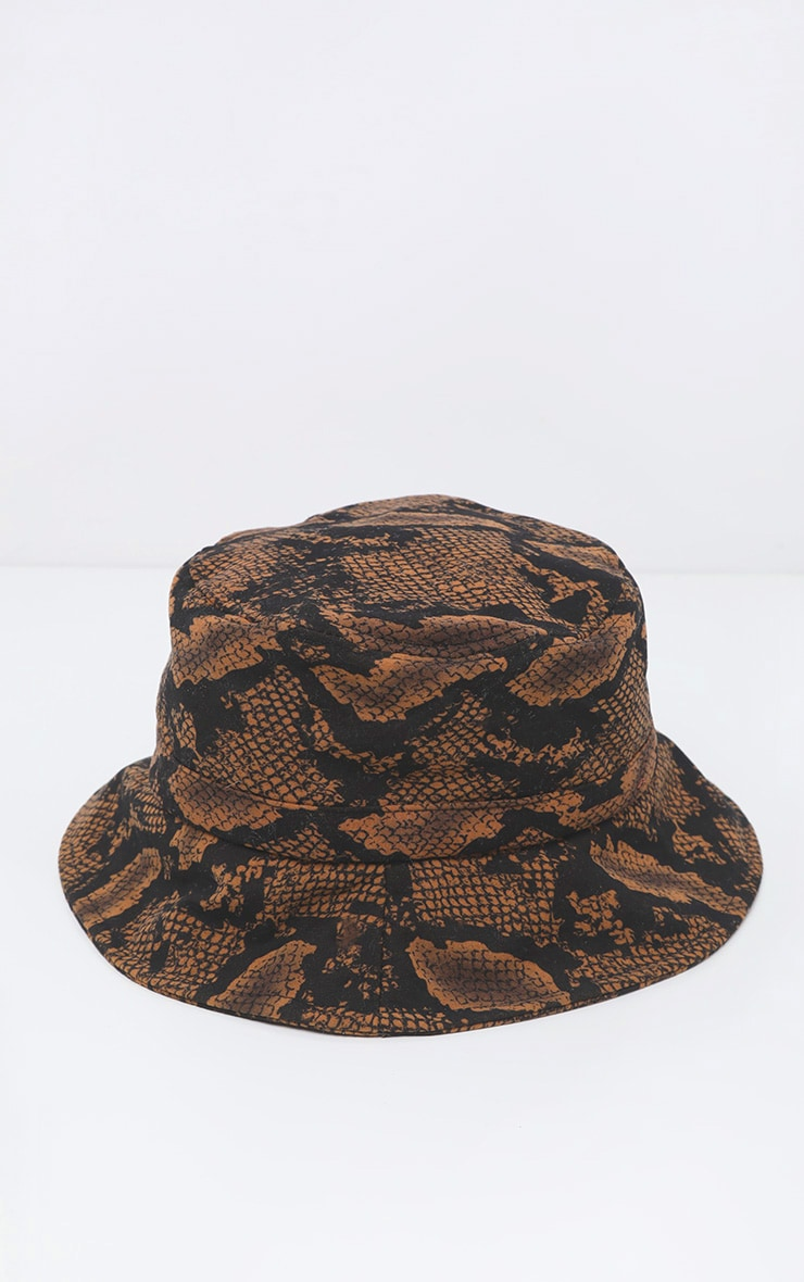 Brown Snake Print Bucket Hat 2