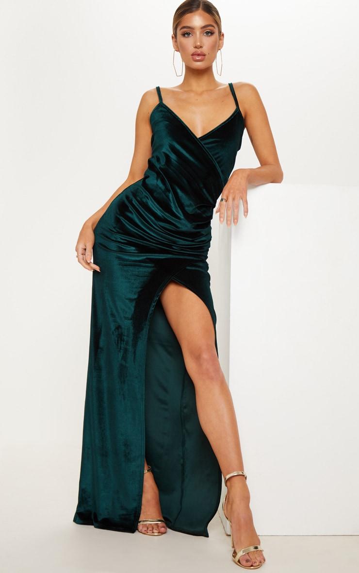 Emerald Green Velvet Strappy Maxi Dress