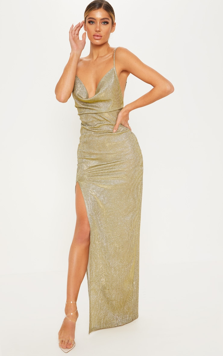 ca45f56fb92 Gold Metallic Cowl Split Leg Maxi Dress image 1