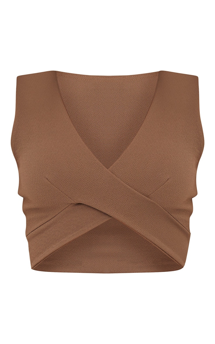 Stone Crepe Cross Front Sleeveless Crop Top 3