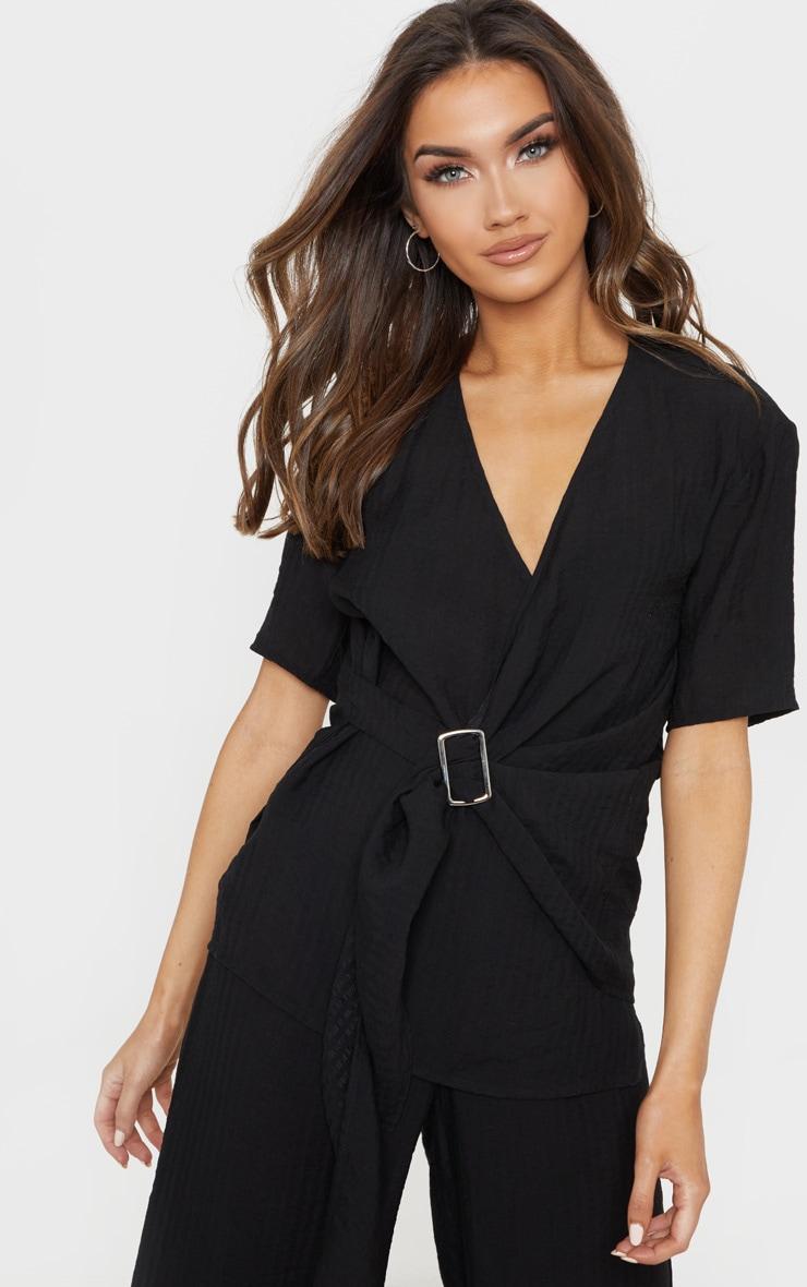 Black Longline Short Sleeve Shirt 1