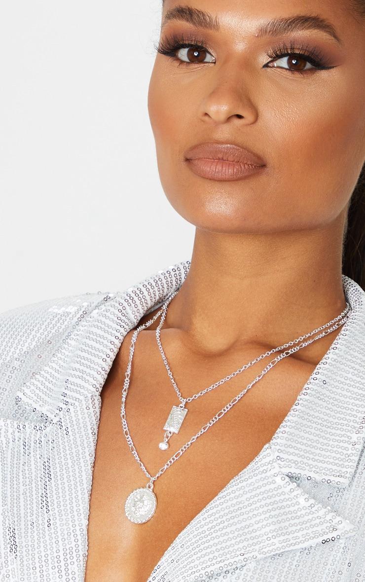 Silver Diamante Drop Lions Head Double Layering Necklace 1