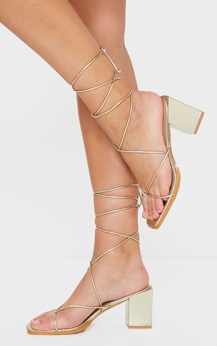 Gold Square Block Heel Strappy Toe Thong Sandals 2