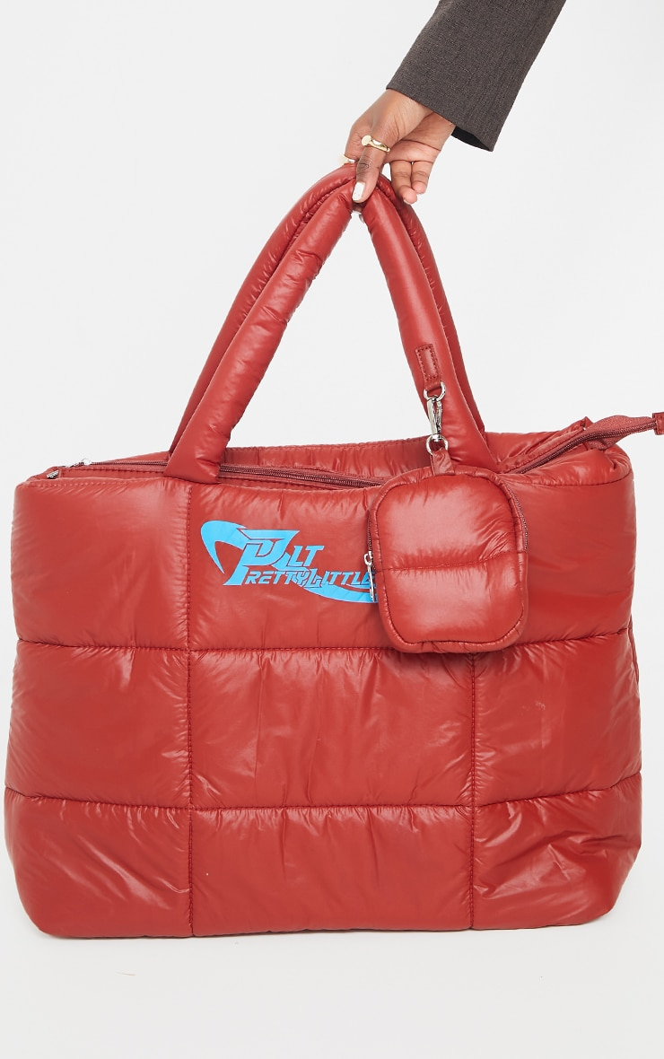 PRETTYLITTLETHING Red Swirl Logo Quilted Oversized Tote Bag 1
