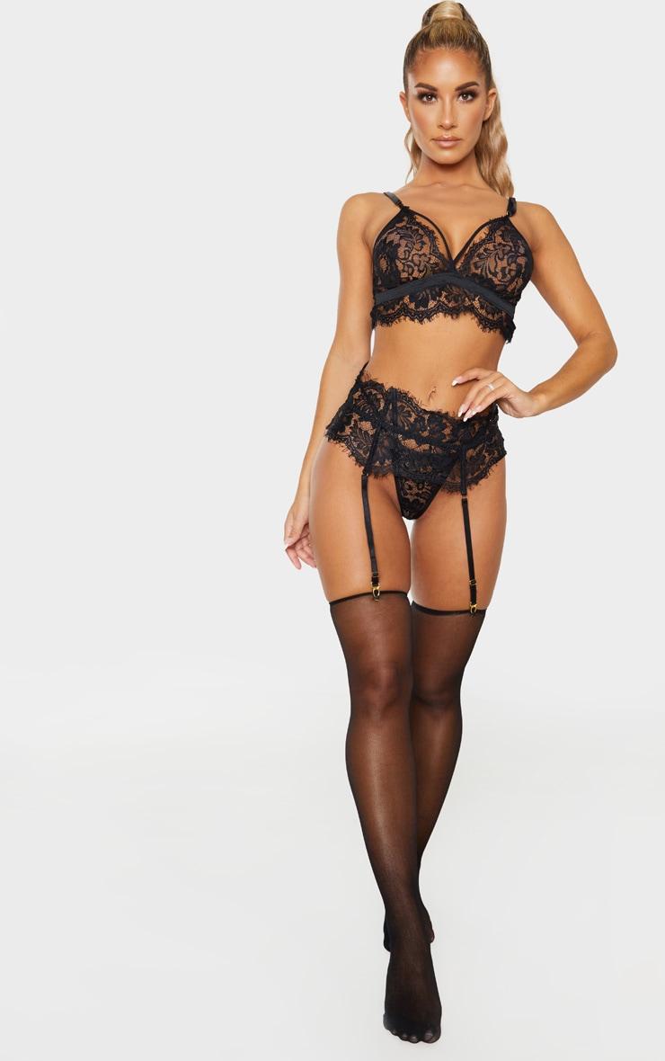 Ensemble de lingerie 3 pièces en dentelle noire frangée 1