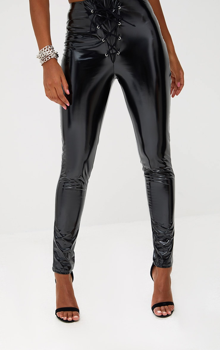 Black Vinyl Skinny Lace Up Trousers 5