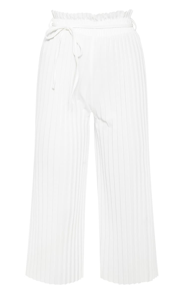 White Pleated Tie Waist Culottes 3