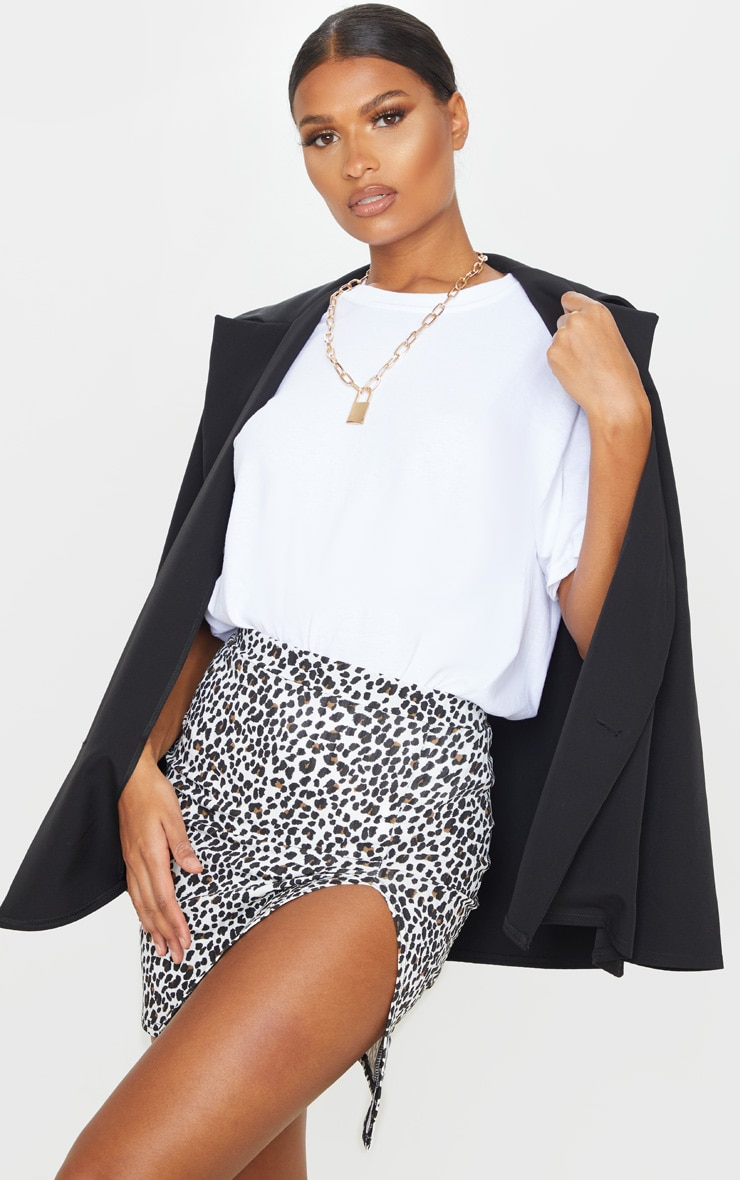 White Leopard Print Rib Split Front Mini Skirt 1