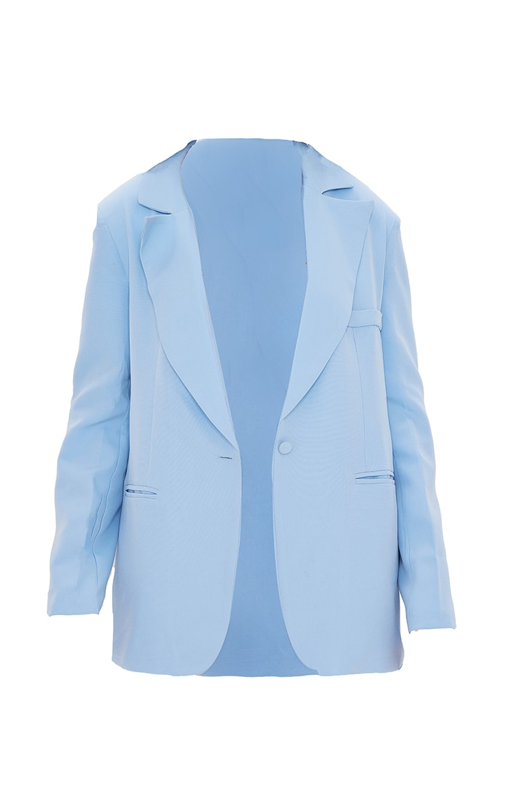 Tall - Blazer oversize bleu à épaulettes 5