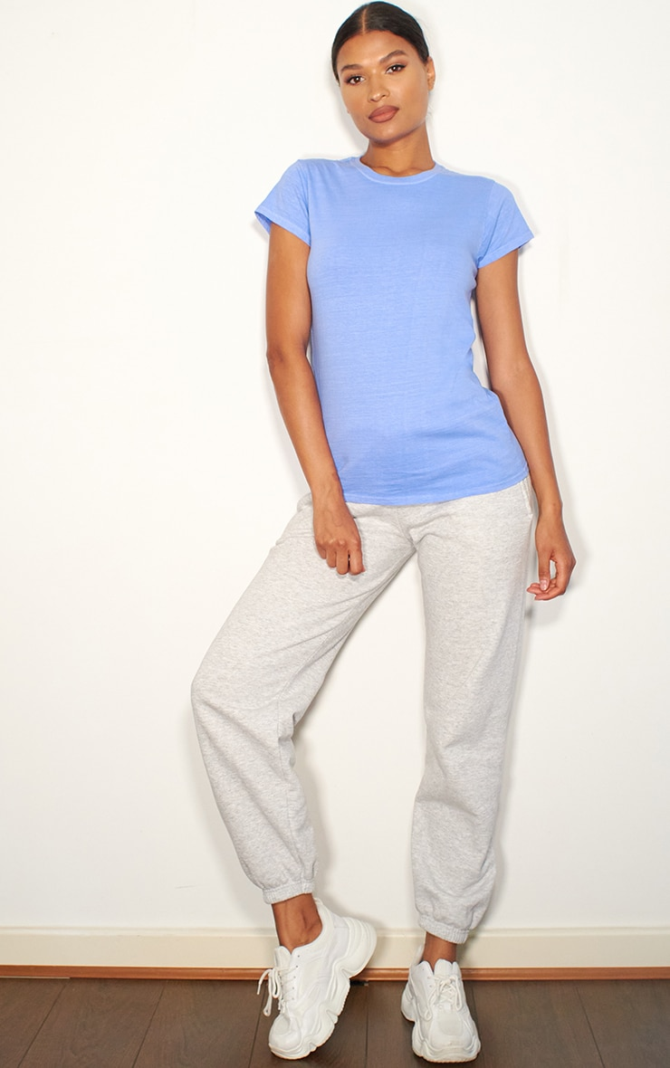 Baby Blue Washed Fitted T Shirt 3