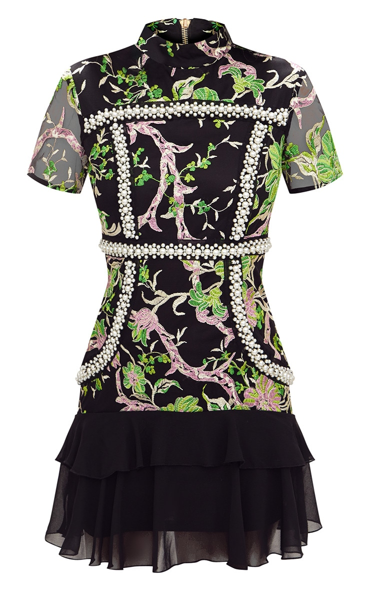 Premium Green Embroidered Floral High Neck Bodycon Dress 4