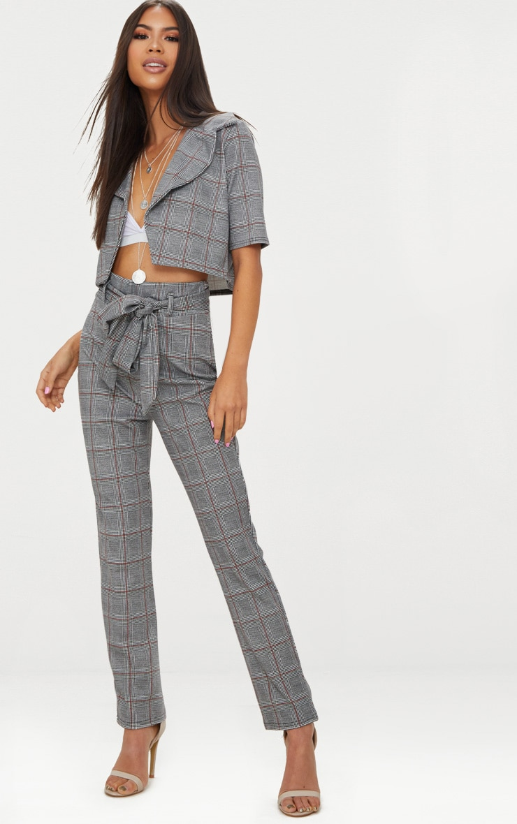 Black Check Tie Waist Cigarette Trouser 1