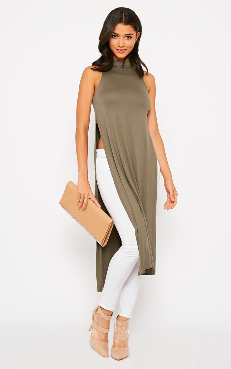 Ane Khaki High Neck Split Side Top 3