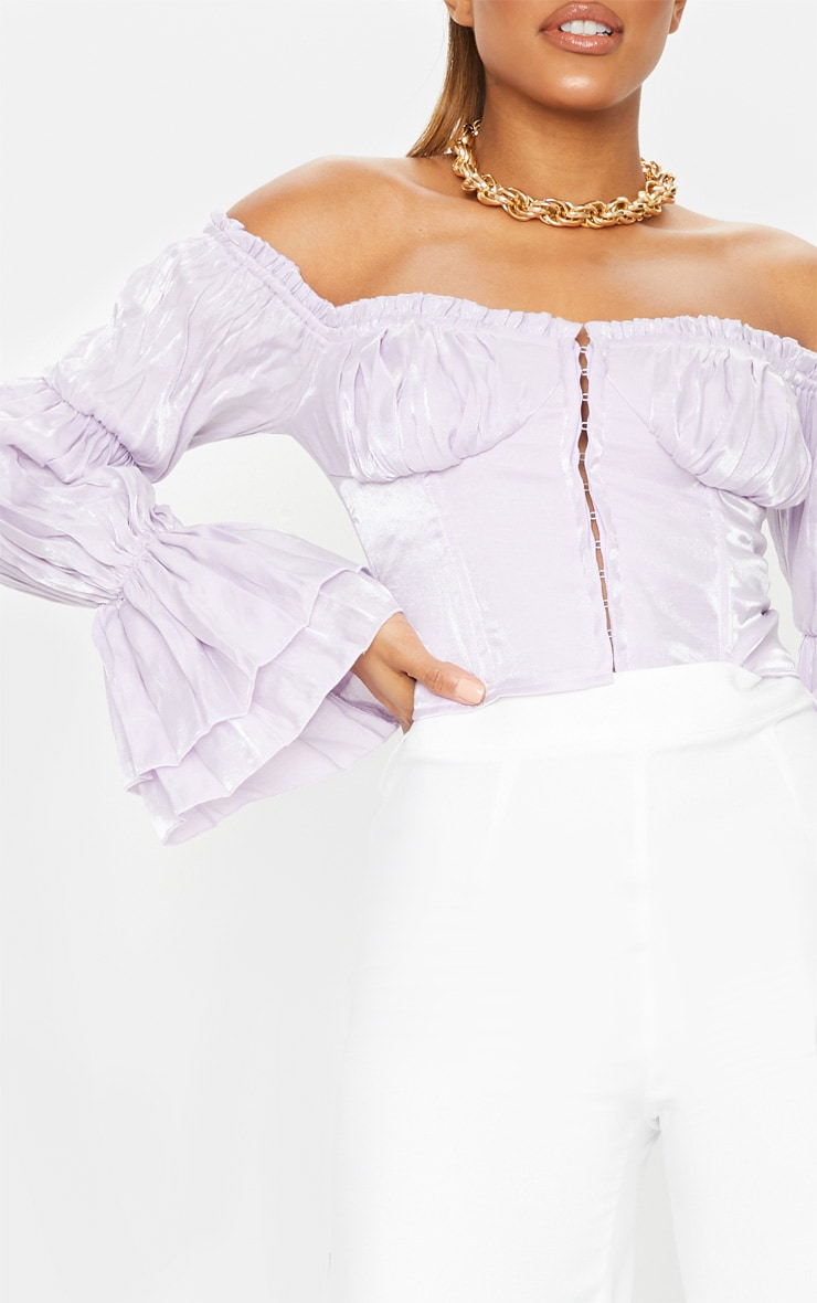 Lilac Sheer Cup Detail Bardot Long Sleeve Corset Top 4