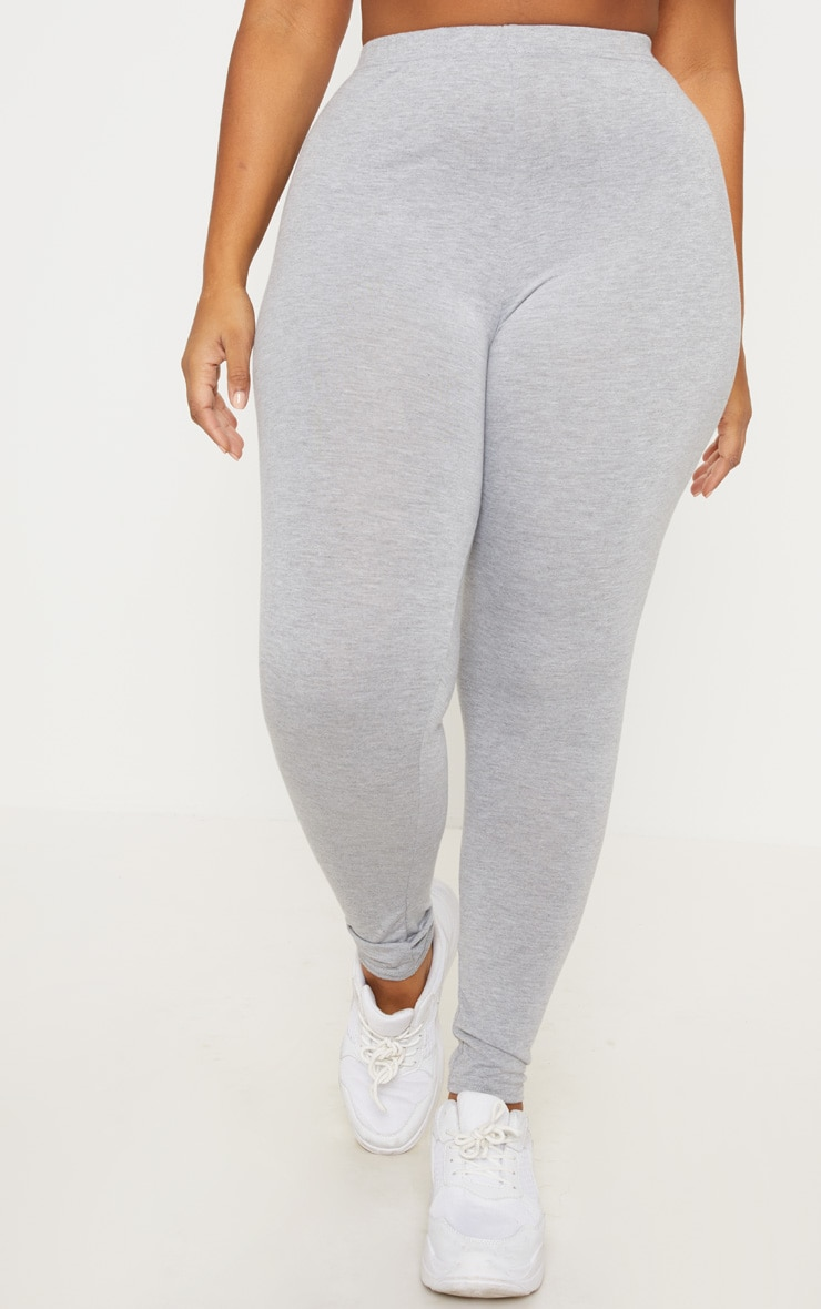 Plus Grey Marl Basic Leggings  2