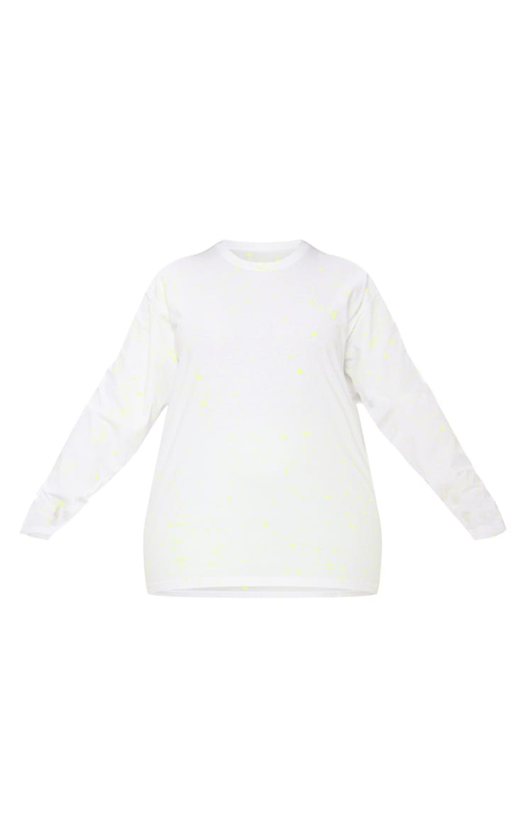 Plus White Fluro Splatter Long Sleeve T-Shirt 3