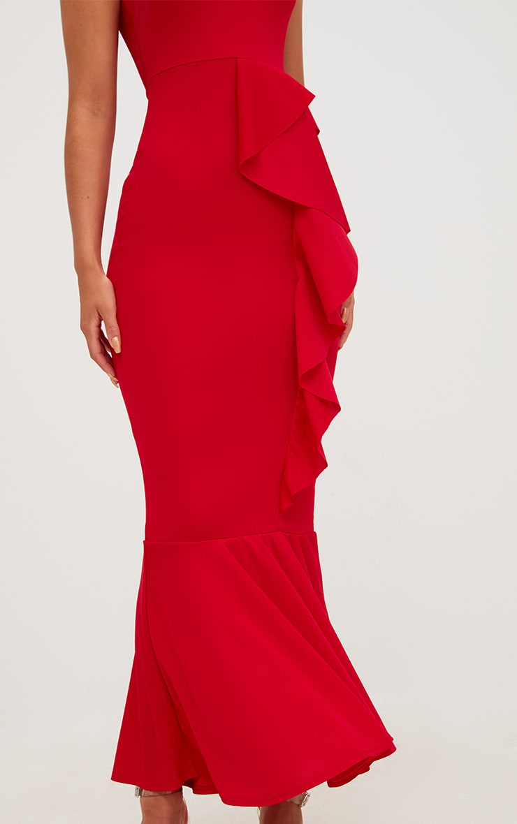 Red Ruffle Detail One Shoulder Midaxi Dress 5