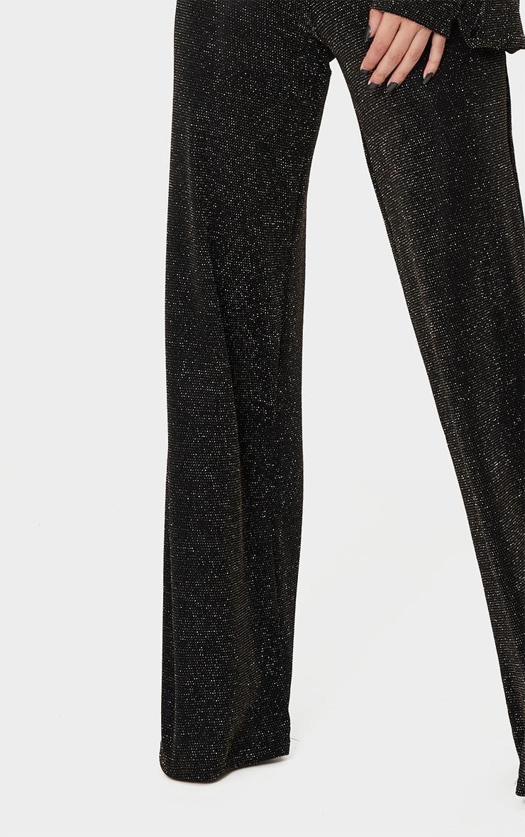 Black Glitter Wide Leg Trousers  5
