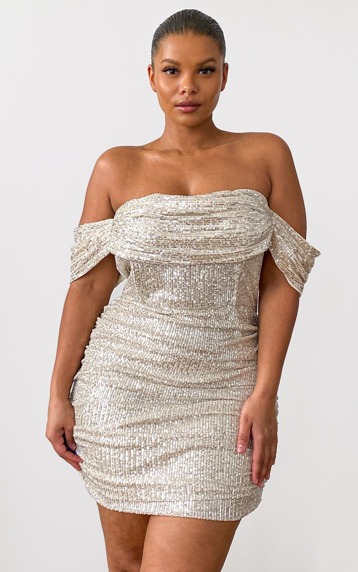 Plus Cream Sequin Bardot Bodycon Dress 1