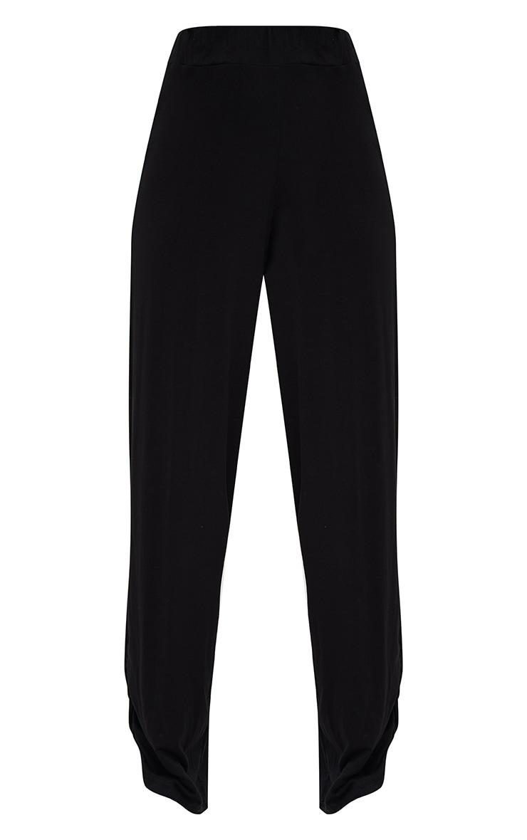 Black Jersey Ruche Hem Wide Leg Joggers 3