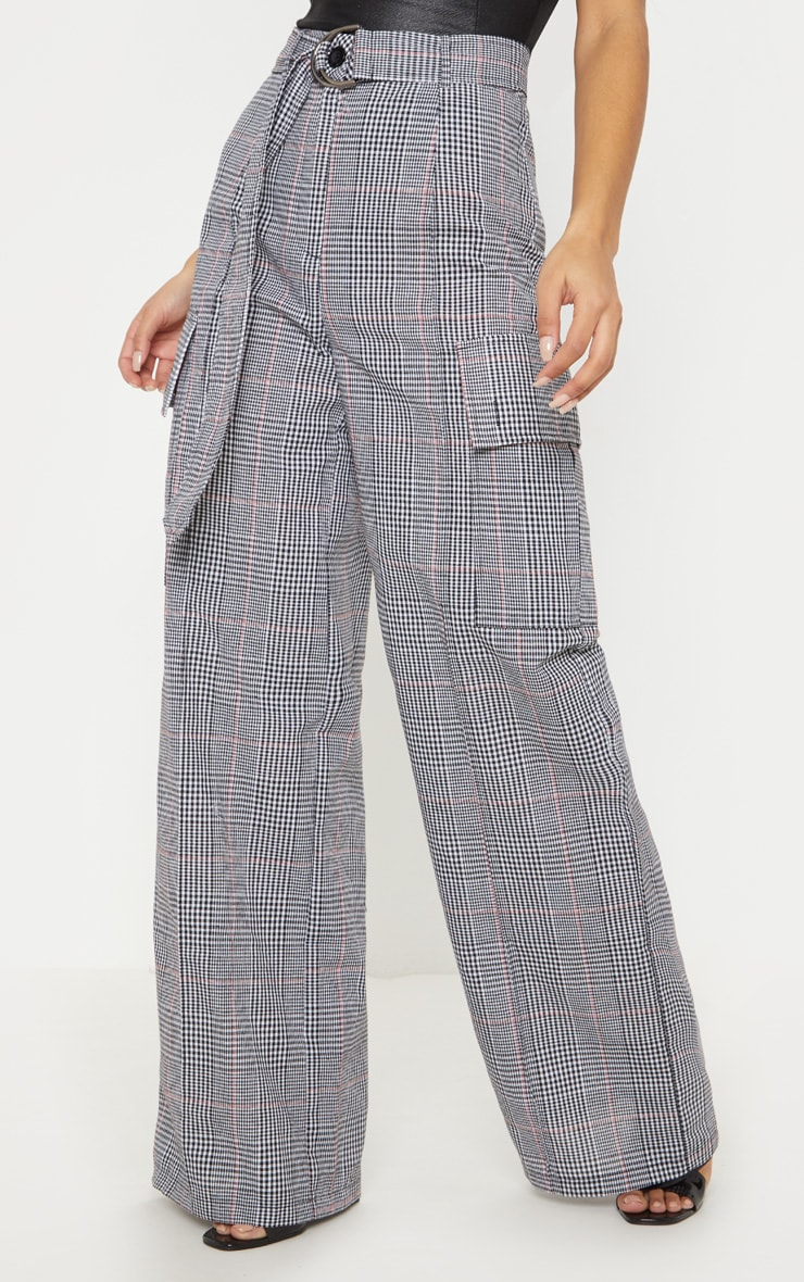 Grey Check D Ring Pocket Wide Leg Pants  2