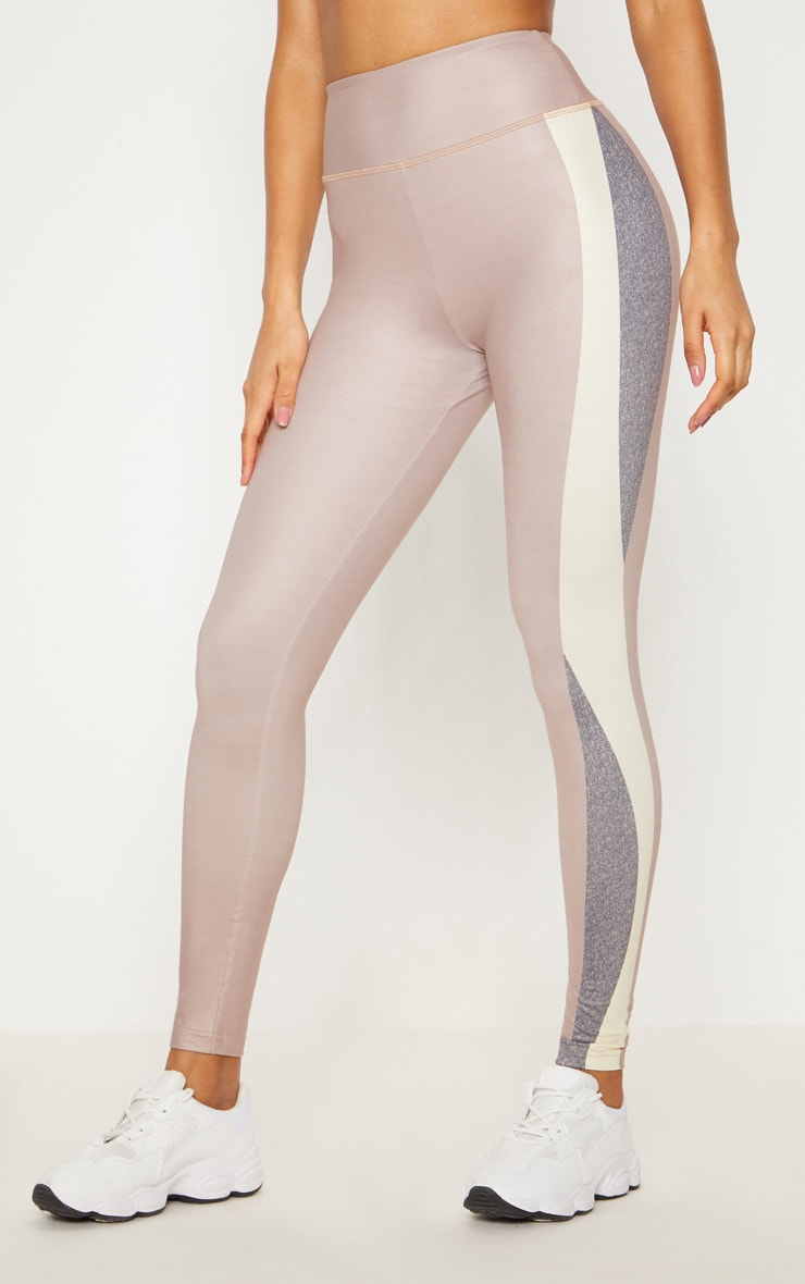 Taupe Contrast Panelled Sports Leggings 3